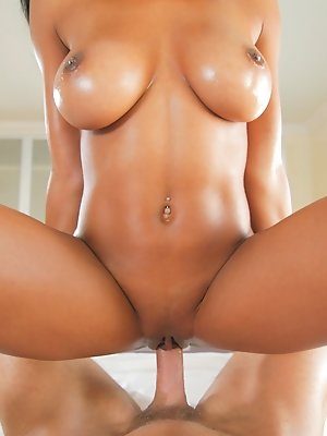 Hot ebony babe sucks and fucks huge cock